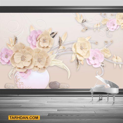 دانلود طرح لایه باز عکس گل سه بعدی روی دیوار