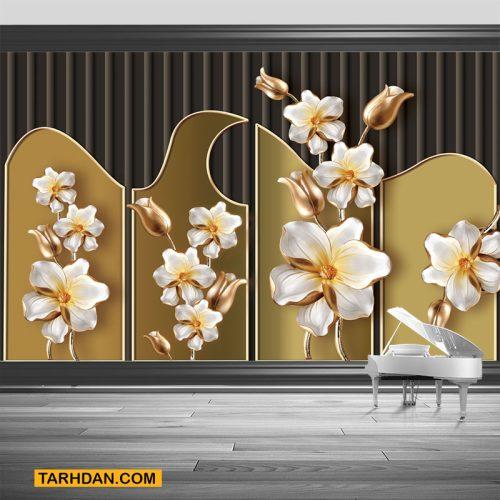 دانلود پوستر سه بعدی گل زمینه قهوه ای