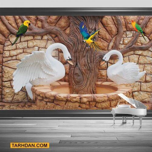 دانلود کاغذ دیواری عکس قوها و درخت