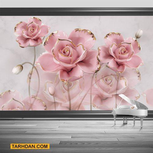 دانلود طرح لایه باز کاغذ دیواری گلهای شاد
