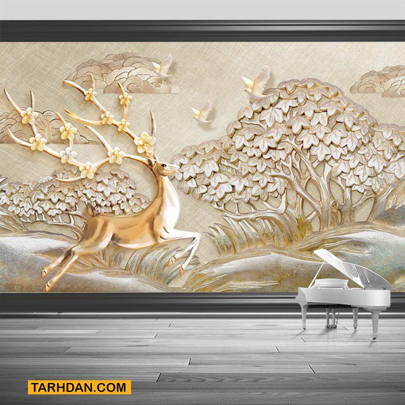 دانلود پوستر سه بعدی عکس کنده کاری شده آهو و صحرا