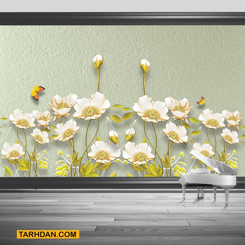 دانلود پوستر سه بعدی گلهای سفید بهاری