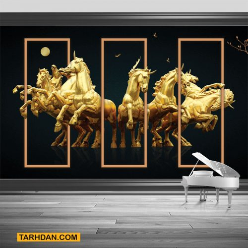 دانلود کاغذ دیواری اسبهای تک شاخ طلایی
