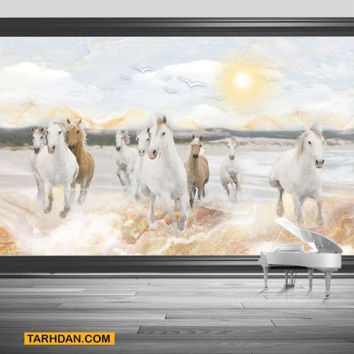 دانلود کاغذ دیواری سه بعدی اسب ها و دریا