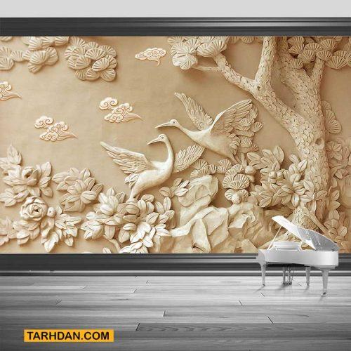 دانلود کاغذ دیواری طرح کنده کاری شده درخت و لکلک