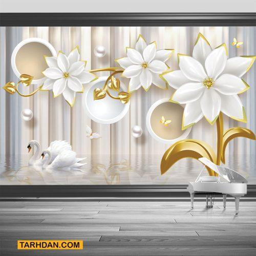 دانلود کاغذ دیواری طرح گل سفید طلایی