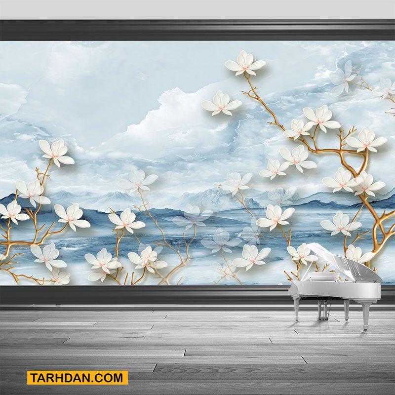 دانلود کاغذ دیواری گلهای سفید شاد بهاری