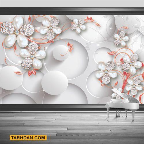 دانلود کاغذ دیواری گلهای نقره ای مرواریدی