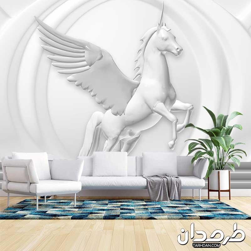 دانلود طرح پوستر دیواری لایه باز اسب بالدار تک شاخ