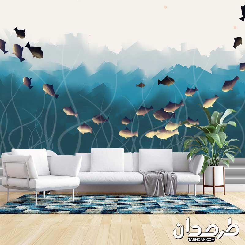 دانلود طرح پوستر دیواری لایه باز ماهیهای فانتزی