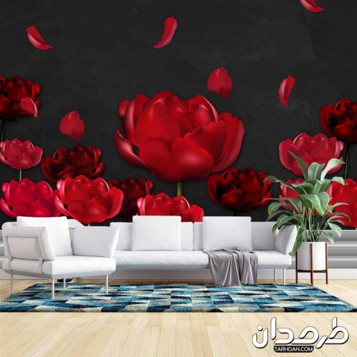 دانلود طرح پوستر دیواری لایه باز گلهای قرمز رویایی