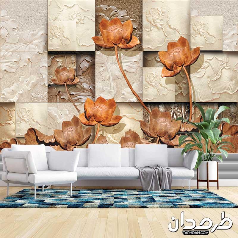 دانلود طرح پوستر دیواری لایه باز گلهای قهوه ای طرح سنگ کاری
