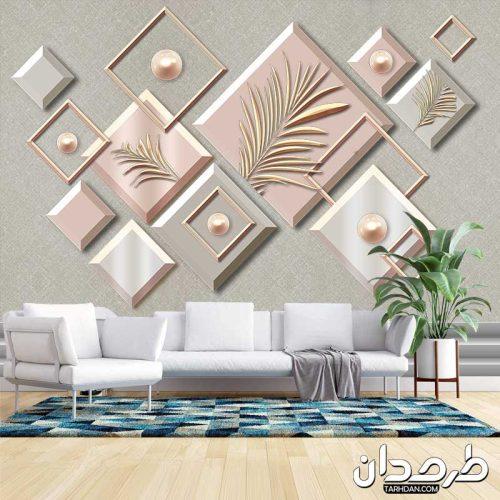 دانلود پوستر دیواری سه بعدی طرح گل و حجم مربعی