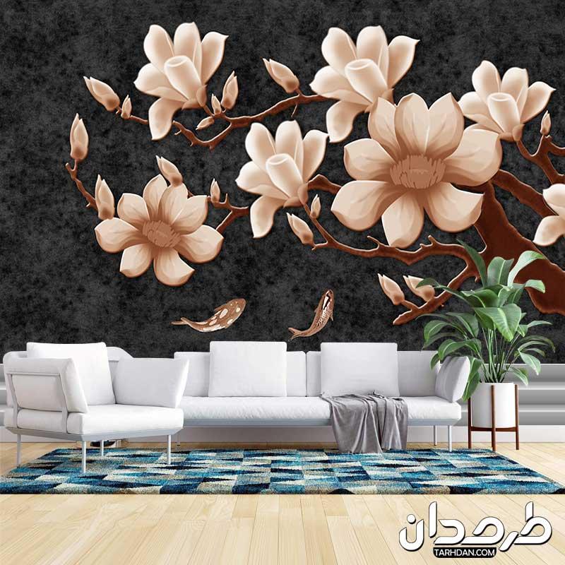 دانلود پوستر دیواری لایه باز گلهای قهوه ای